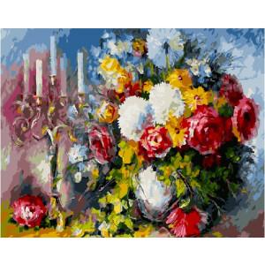"""GX5759 Картина по номерам """"Свечи и розы"""", 40х50 см"""