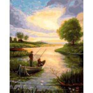 """GX22068 """"Рыбаки в лодке на рассвете"""", 40х50 см"""