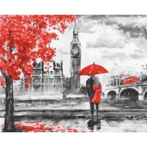 """GX22089 """"Пара под зонтом у красного дерева"""", 40х50 см"""