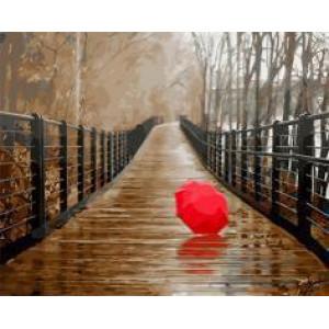 """GX22096 """"Красный зонт на осеннем мосту"""", 40х50 см"""