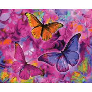 "GX22267 ""Три бабочки на малиновых цветах"", 40х50 см"