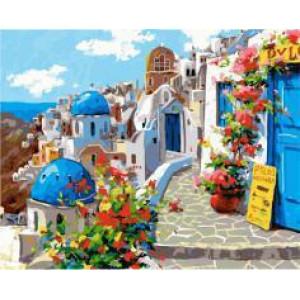 """GX22383 """"Бело-синие дома с цветами"""", 40х50 см"""