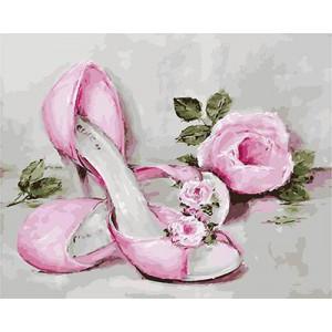GХ4345 картина по номерам Розовые туфли и роза  40х50 см