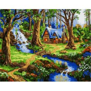 """GХ4679 """"Картины раскраски по номерам Сказочный домик в лесу"""" , 40х50 см"""