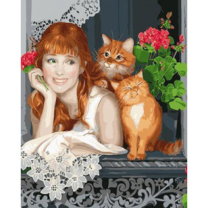 """GХ4717 Раскраска по номерам Девушка и два рыжих кота"""", 40х50 см"""