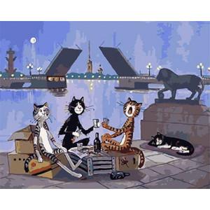 GХ4746 Картина по номерам Коты пьют на набережной, 40х50 см