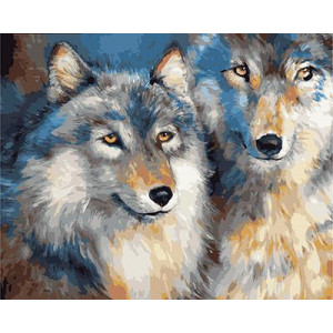 "GХ4765 картина по номерам Волчья пара"", 40х50 см"