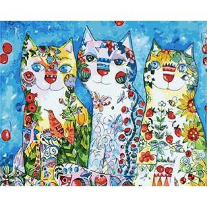 GХ4884 Картины по номерам Три цветных кошки, 40х50 см