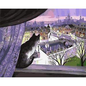 GХ5016 картина по номерам Кот смотрит с окна на улицу, 40х50 см