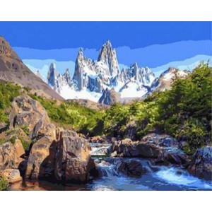 """GХ3118 """"Ручей на фоне белой горы"""", 40х50 см"""