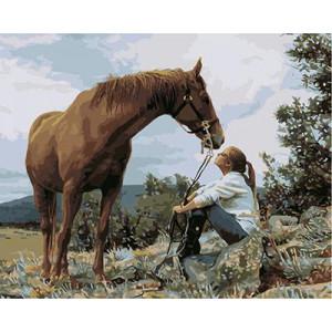 """GХ3589 """"Девушка сидит около коня"""", 40х50 см"""