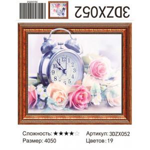 """Алмазная мозаика 3D 052 """"Будильник и розы"""", 40х50"""