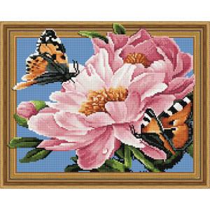 3D Алмазная мозаика 40х50 круглые стразы TSGJ 1015 Бабочки и цветы