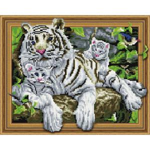 3D Алмазная мозаика 40х50 круглые стразы TSGJ 1031 Белая тигрица с тигрятами