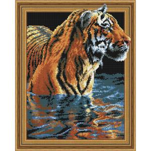 3D Алмазная мозаика 40х50 круглые стразы TSGJ 1063 Тигр в воде