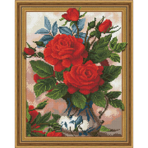 3D Алмазная мозаика 40х50 круглые стразы TSGJ 1087 Розы в вазе