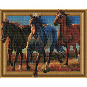 3D Алмазная мозаика 40х50 круглые стразы TSGJ 1194 Табун лошадей