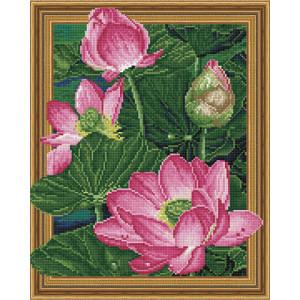 3D Алмазная мозаика 40х50 круглые стразы TSGJ 1258 Розовые кувшинки