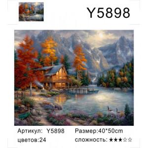 "Y5898 картина по номерам ""Вечерний домик около озера"", 40х50 см"