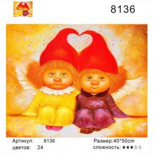 """РН 8136 картины по номерам """"Два домовенка в красных колпаках"""", 40х50 см"""