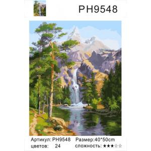 "PH9548 картины по номерам  ""Водопад в тайге"", 40х50 см"
