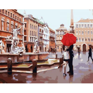 GХ4107 картина по номерам Пара под красным зонтом на площади  40х50 см