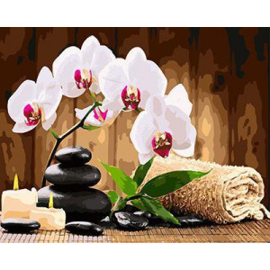 GХ4440 картина по номерам Орхидеи, камни, свечи  40х50 см