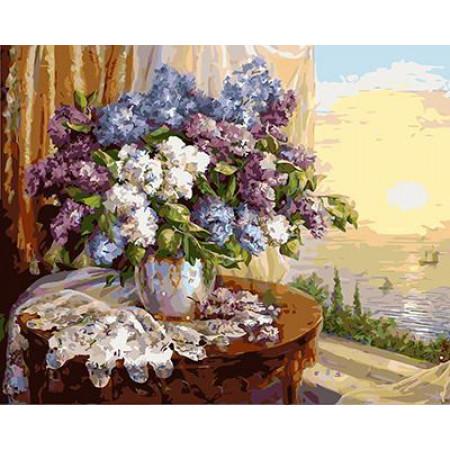 GХ4446 картины по номерам Сирень на круглом столе у окна  40х50 см