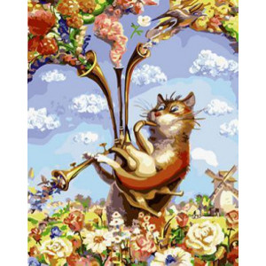 GХ4451 картина по номерам Кот играет на волынке  40х50 см