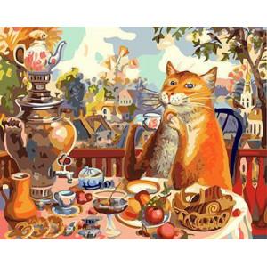 "GХ4454 картина по номерам Кот завтракает"" , 40х50 см"