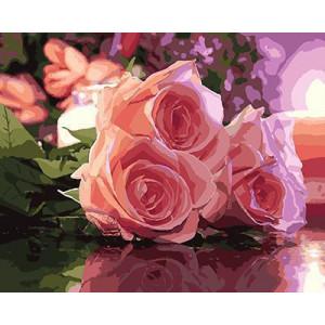 GХ4478 картины по номерам Три розовых розы лежат  40х50 см