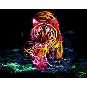 GХ4486 картина по номерам Неоновый тигр идет  40х50 см