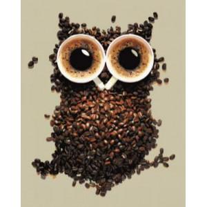 GХ4493 картина по номерам Сова из кофе  40х50 см