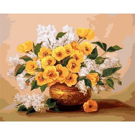 GХ4509 картины по номерам Желтые цветы и белая сирень 40х50 см