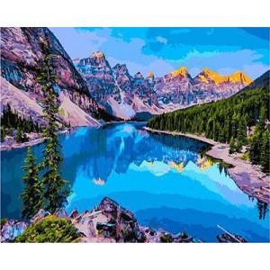 GХ4517 картины по номерам Вид на горное озеро сверху 40х50 см