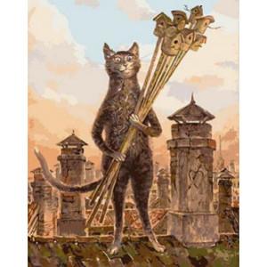 GХ4520 картина по номерам Кот с охапкой скворечников  40х50 см