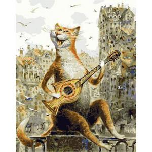 GХ4554 картины по номерам Кот играет на гитаре-рыбе  40х50 см
