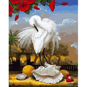 GХ4555 картины по номерам Белый журавль на ракушке 40х50 см
