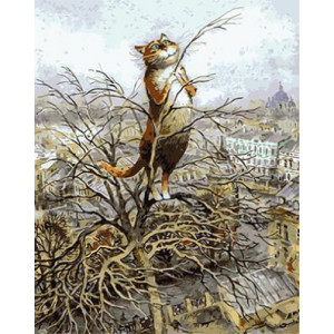 GХ4560 картины по номерам Кот на верхушке дерева 40х50 см