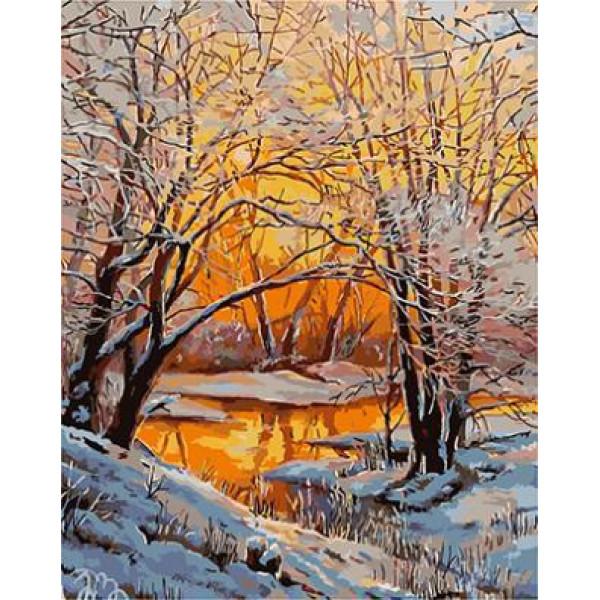 GХ4561 картины по номерам Зимний лес, ручей, закат 40х50 см