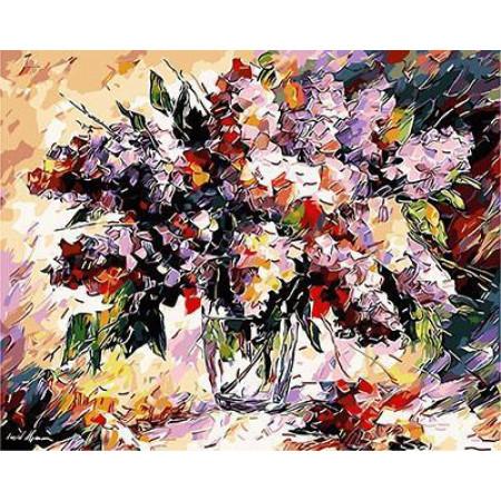 GХ4569 картины по номерам Букует цветов крупными мазками 40х50 см