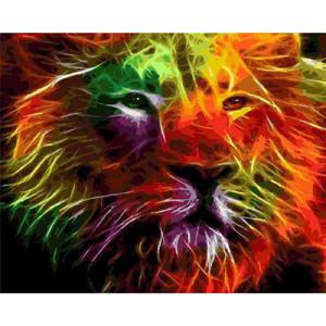 GХ4605 картина по номерам Неоновый лев  , 40х50 см