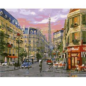 GХ4653 картина по номерам Парижская улица , 40х50 см