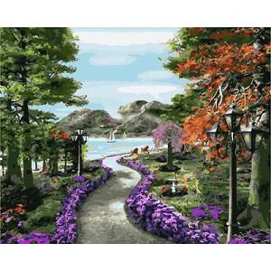 GХ4706 картина по номерам Дорожка через парк к морю , 40х50 см