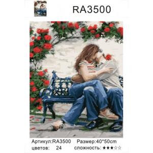 """RA3500 """"Пара целуется на лавочке"""", 40х50 см"""