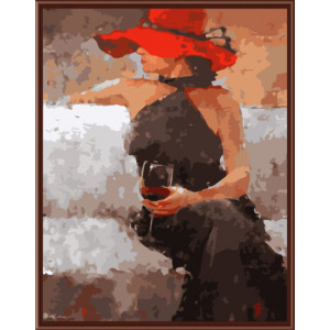 """GX6340 Картина раскраска по номерам """"Леди с бокалом"""" 40х50 см купить в Омске недорого"""