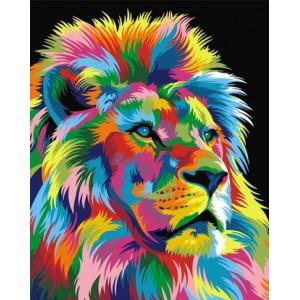 GX9053 Картина раскраска по номерам Радужный лев 40х50см