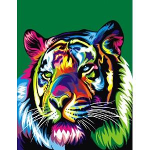 "GX9207 Картина раскраска по номерам "" Радужный тигр"" 40х50см"
