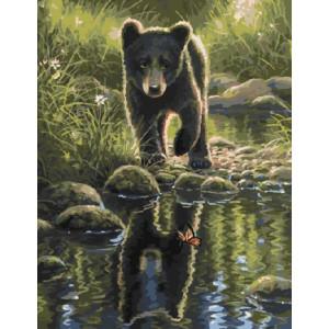 GX9549 Картины по номерам на холсте 40х50 медвежонок купить в Омске недорого