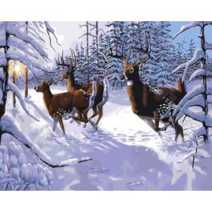 gx9642 Картина по номерам Олени в зимнем лесу 40х50 см купить в Омске недорого
